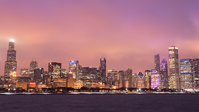 Chicago City Skyline at Dusk