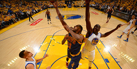 Tristan Thompson of the Cleveland Cavaliers goes up for t...