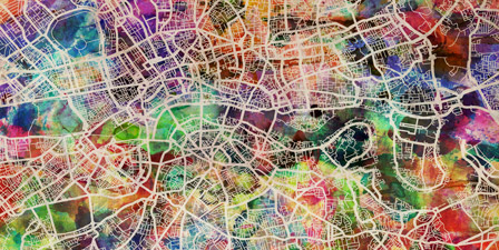 London Map Art Watercolor