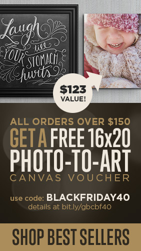 Free 16x20 Photo-to-Art Canvas Voucher with $150 Purchase