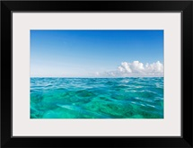Hawaii, Oahu, View Of Tranquil Ocean With Blue Water