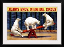 Adams Bros., International Circus,Vintage Poster