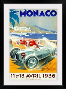Grand Prix, Monaco, 1936, Vintage Poster, by Geo Ham