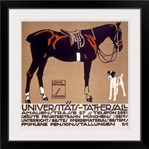 Horse and Fox Terrier, Universitats Tattersall,Vintage Poster, by Ludwig Hohlwein