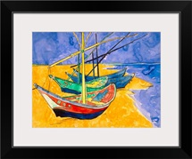 Fishing Boats on the Beach at Saintes Maries de la Mer (pen &amp;amp; ink with w/c on paper)