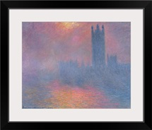 The Houses of Parliament, London, with the sun breaking through the fog