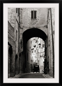 Black and White of Old Italian Buildings Along Alley