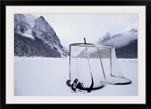 Hockey goal and equipment on frozen Lake Louise in Alberta