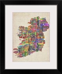 Irish Cities Text Map, Multicolor on Parchment
