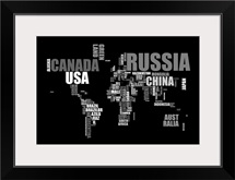 Text map in black and white