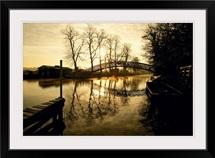 Footbridge and row boats, Oxford, England
