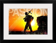Military Grunge Poster: Passion. A machine gunner prepares to load