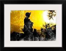 Motivational Grunge Poster: Respect. U.S. Army Sergeant provides security