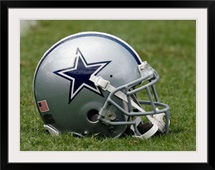 A Dallas Cowboys Helmet on the Field
