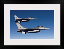 A pair of F-16s fly in formation over Arizona