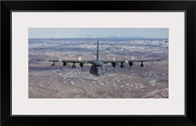 An MC-130 aircraft manuevers during a training mission over New Mexico