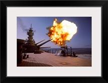 Battleship USS Wisconsin fires one of the Mark 7 16inch/50caliber guns