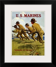 Digitally restored vector war propaganda poster. US Marines, Soldiers Of The Sea