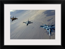 F15 Eagles and a F16 Fighting Falcon fly in formation