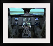 Interior view of an aircraft flight simulator
