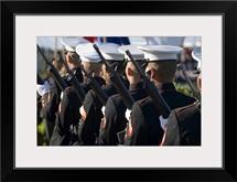 The Marine Corp Base Kaneohe Rifle Team performs the 21gun salute