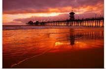 Huntington Beach At Sunset, California, Usa