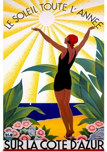 Cote dAzur, Le Soleil Toute, LAnne, Vintage Poster, by Roger Broders