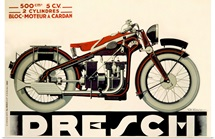 Dresch, 500 CC Motorcycle, 1935, Vintage Poster