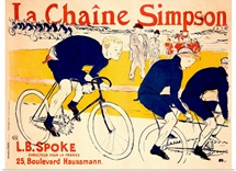 La Chaine Simpson, L.B. Spoke, Bike Chains,Vintage Poster, by Henri de Toulouse Lautrec