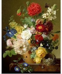Flower Still Life on a marble ledge, 1800 01 (oil on canvas)