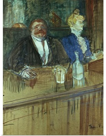 In the Bar: The Fat Proprietor and the Anaemic Cashier, 1898 (gouache on paper)