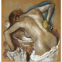 Woman Washing Her Back with a Sponge, c.1888-92 (pastel on buff paper)