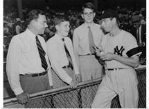 Joe Di Maggio autographs baseball for Gov, Thomas Dewey's sons, Tommy and Johnny, 1948