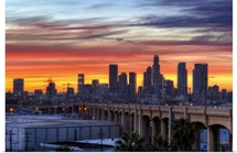 Iconic 6th bridge at dusk in Los Angeles, US.