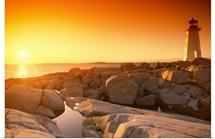 A lighthouse at sunset, Peggy's Cove, Nova Scotia, Canada