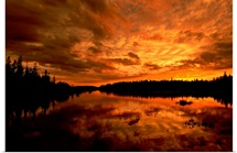 Orange sunset over a lake