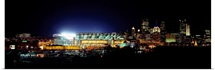 Stadium lit up at night in a city, Heinz Field, Three Rivers Stadium, Pittsburgh, Pennsylvania