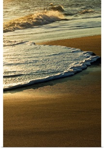 Surf on sandy beach, sunrise light, Outer Banks, North Carolina