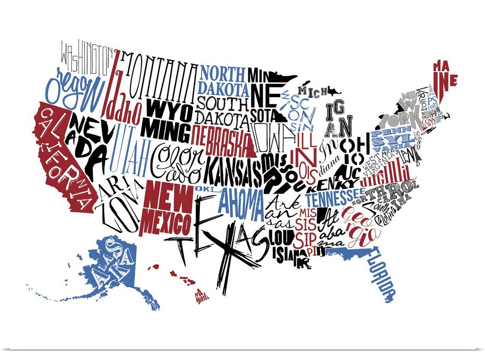 Poster Print Wall Art Entitled USA Typography Map EBay - Poster map of usa