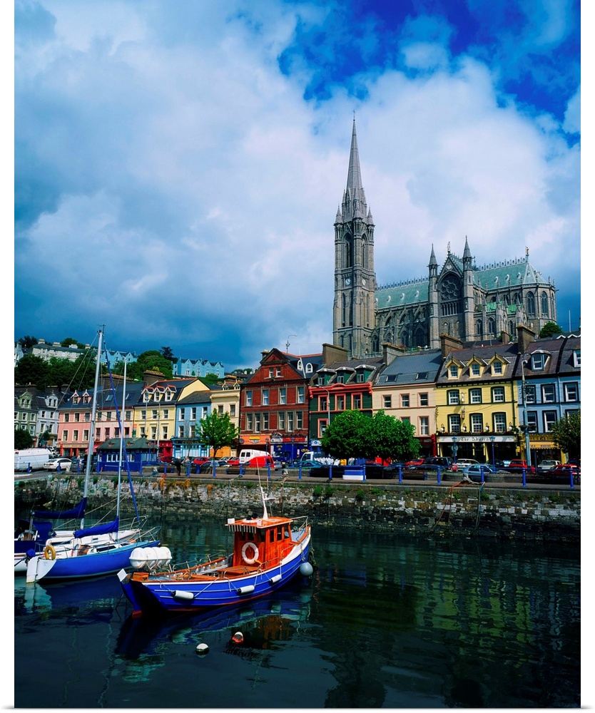 Poster Print Wall Art Entitled Cobh Cathedral And Harbour