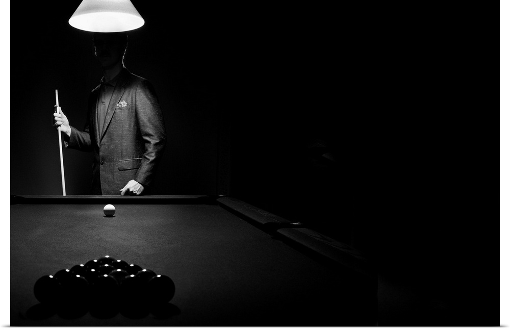 Poster Print Wall Art Entitled Mystery Pool Player Behind