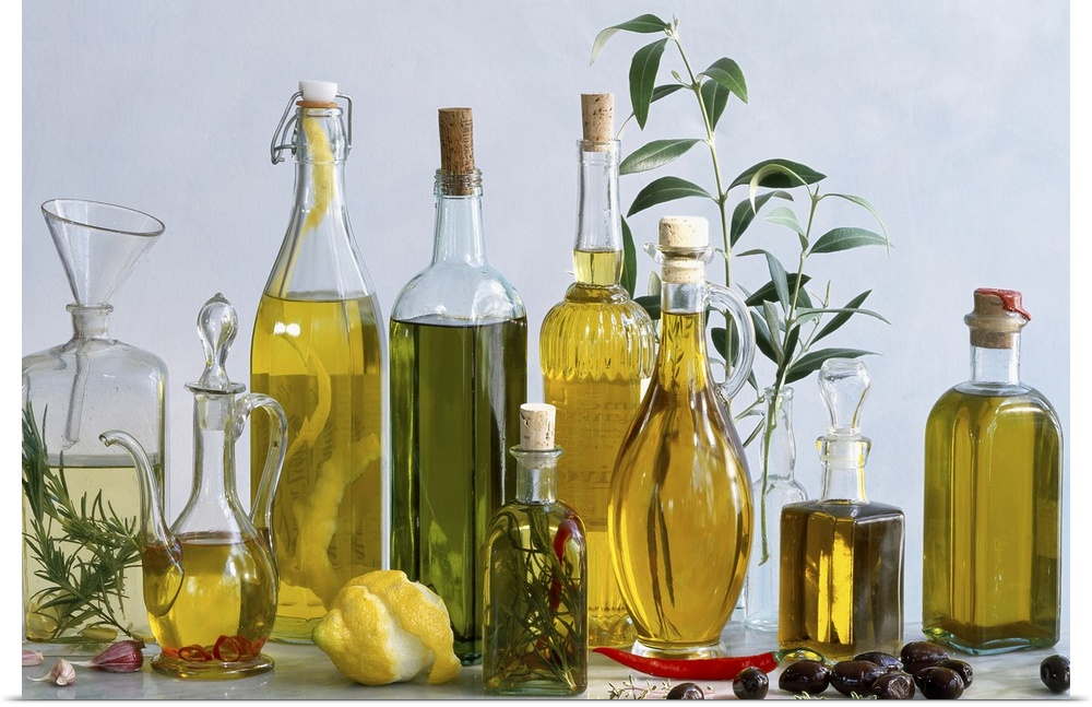 Details about Poster Print Wall Art entitled Various types of olive oils in bottles with
