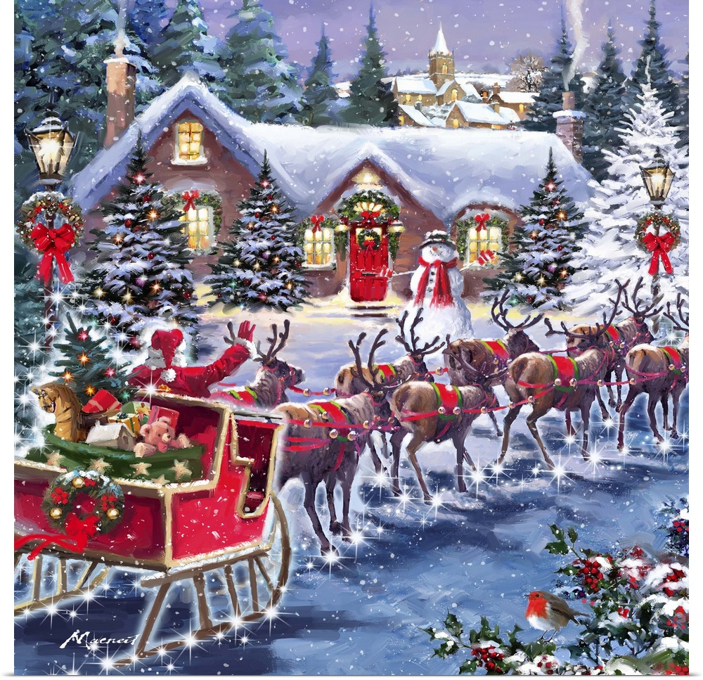 poster print wall art entitled santa and sleigh ebay. Black Bedroom Furniture Sets. Home Design Ideas