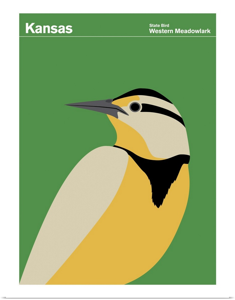 Poster Print Wall Art entitled State Posters - Kansas State Bird ...