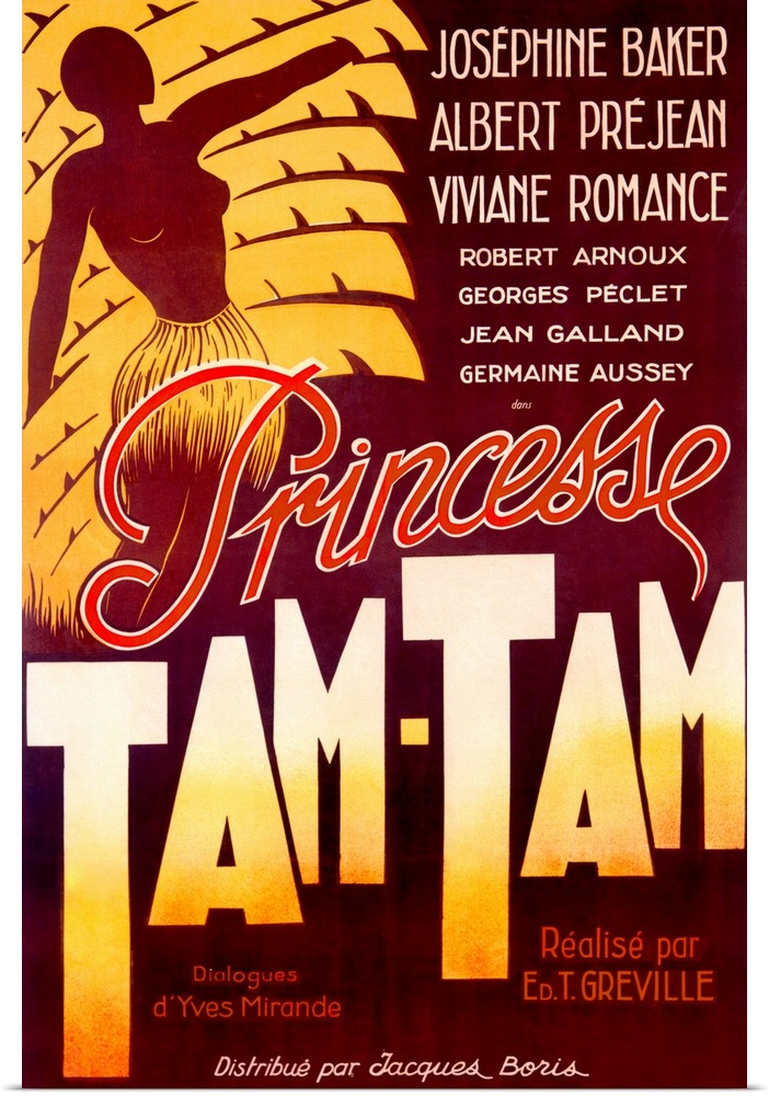 Poster Print Wall Art entitled Josephine Baker, Tam Tam ...