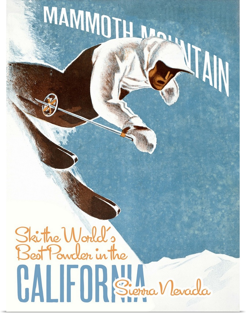 Poster Print Wall Art entitled Mammoth Mountain Vintage ...
