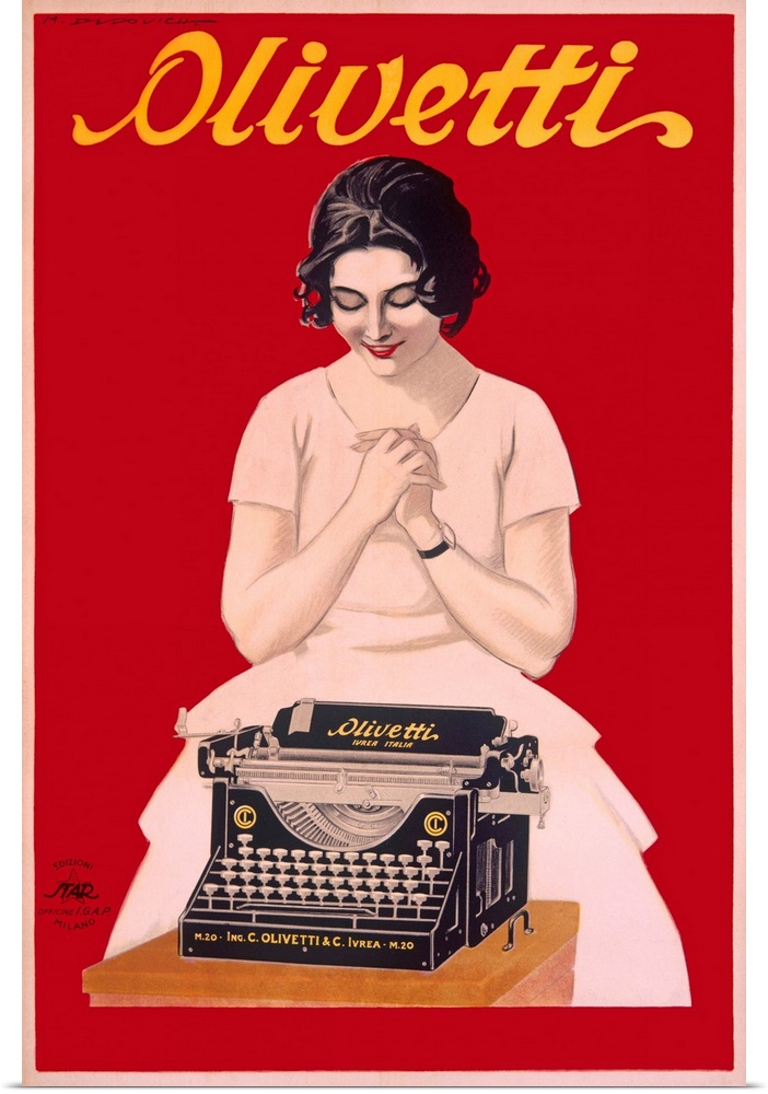 Poster-Print-Wall-Art-entitled-Olivetti-Typewriter-Vintage-Poster-by-Marcello