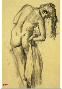 After the Bath, c.1891-92 (charcoal on yellow tracing paper)