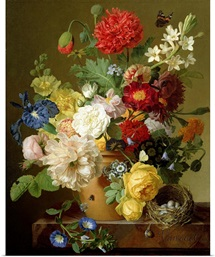 Flower Still Life on a marble ledge, 1800 01 (oil on canvas)