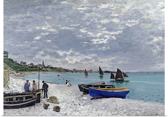 The Beach at Sainte Adresse, 1867 (oil on canvas)